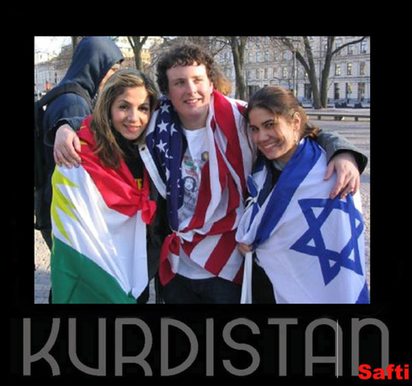Kurdistan-American-and-Israeli-Flags